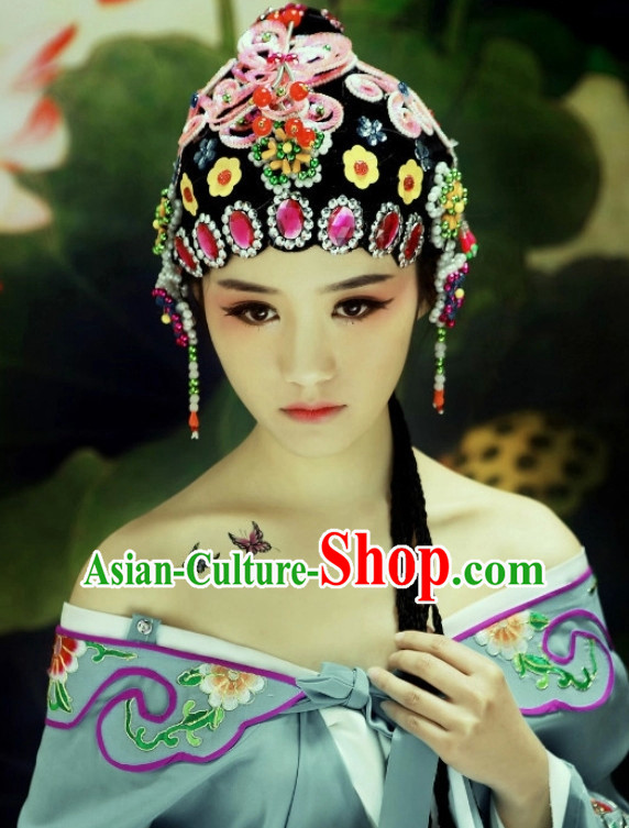 Traditional Chinese Opera Black Wigs and Hair Accessories