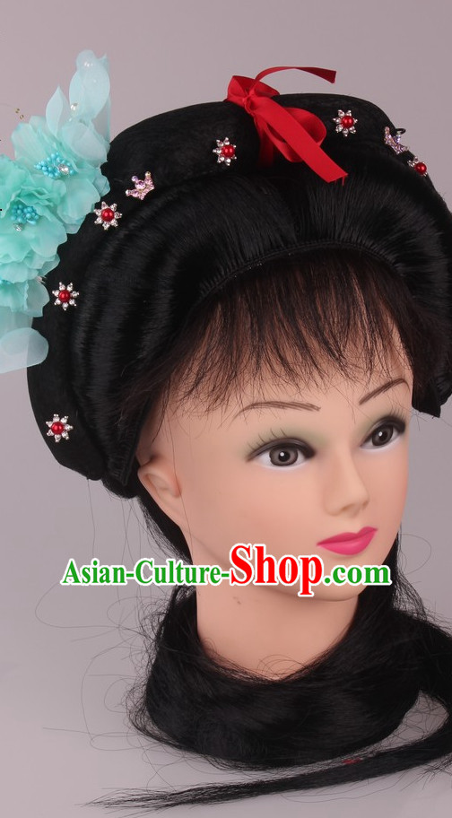 Chinese Traditional Handmade Black Long Wigs for Women
