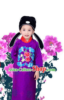 Traditional Chinese Photo Costume Prime Minister Costume and Hat Complete Set for Children