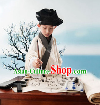 Traditional Chinese Photo Costume Student or Servant Costume and Hat Complete Set for Children