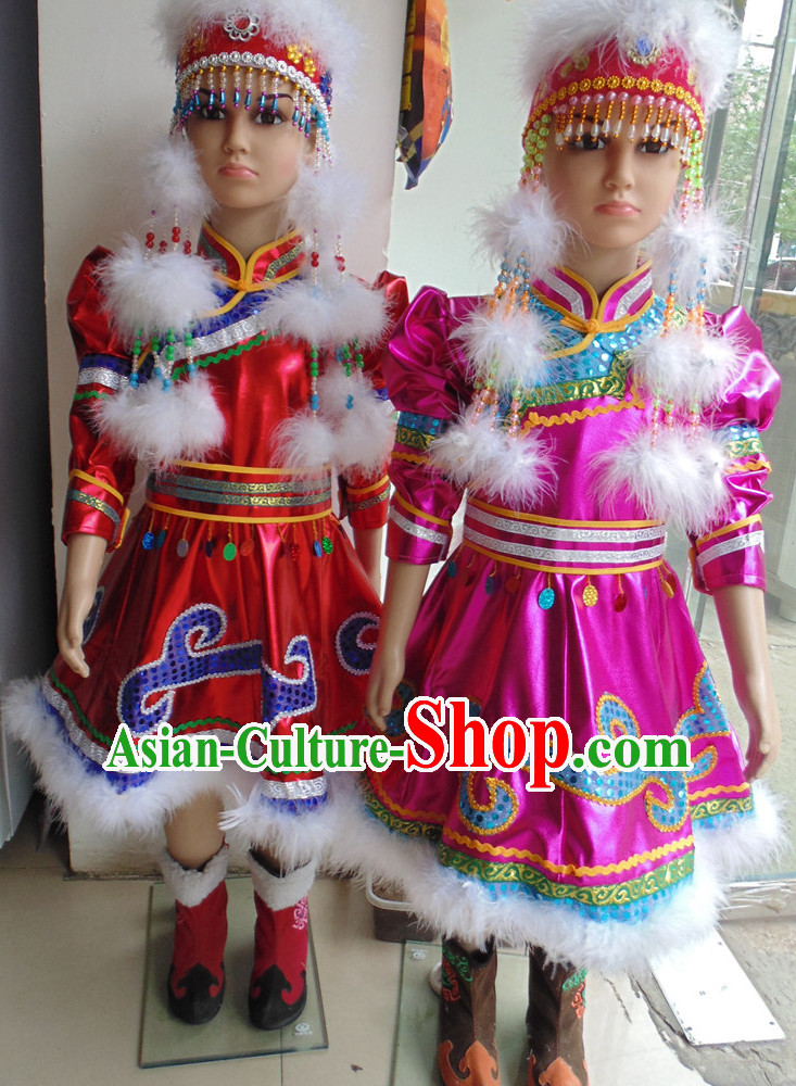 Traditional Chinese Mongolian Long Robe and Hat Complete Set Kids