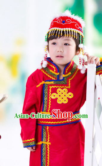 Traditional Chinese Mongolian Dresses and Hat Complete Set Kids
