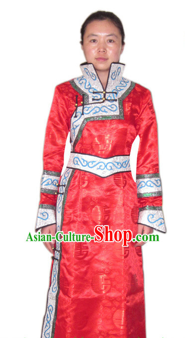 Traditional Chinese Mongolian Dress and Hat Complete Set Women