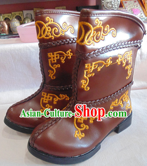 Traditional Mongolian Warm Winter Boots for Children
