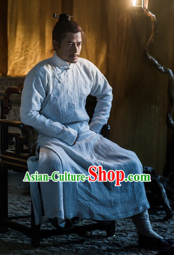 Traditional Chinese Kungfu Long Robe Martial Arts Costumes for Men