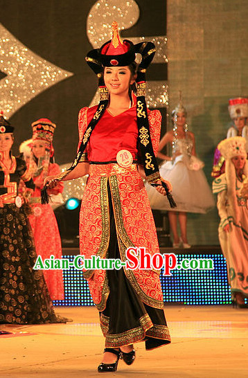 Traditional Mongolian Clothing and Hat Complete Set for Women