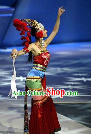 Traditional Chinese Minority Clothes and Hat Complete Set for Women