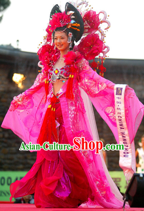 Traditional Chinese Classical Clothes and Headwear Complete Set for Women