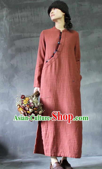 Chinese Traditional Mandarin Long Robe Clothes for Women