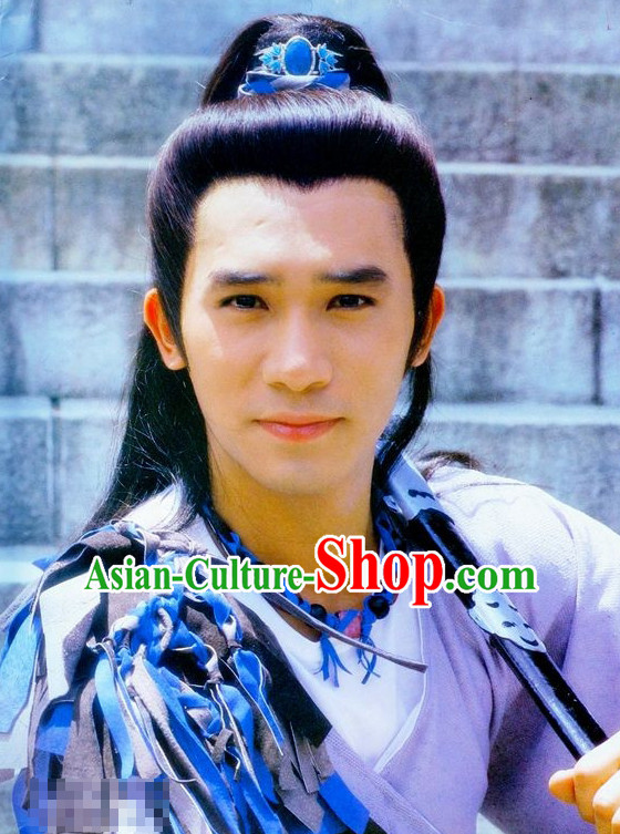 Handmade Chinese Classical Long Black Wigs and Coronet for Men