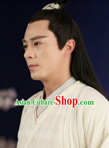 Handmade Chinese Guzhuang Long Black Wigs and Hair Accessories for Men
