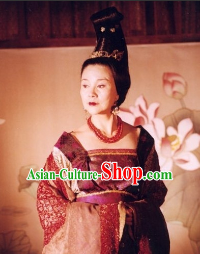 Handmade Chinese Palace Female Emperor Wu Zetian Wigs and Hair Accessories