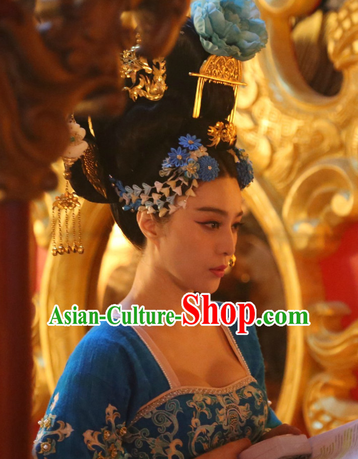 Handmade Chinese Palace Empress Black Wig and Hair Accessories