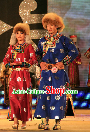 Traditional Chinese Mongolian Clothing 2 Sets