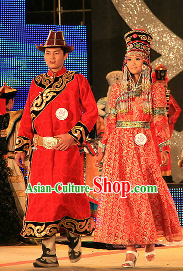 Traditional Chinese Mongolian Clothing 2 Sets for Men and Women