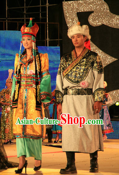 Traditional Chinese Mongolian Long Robes 2 Sets for Women and Men