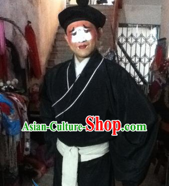 Ancient Chinese Black Clown Costumes and Hat Complete Set for Men