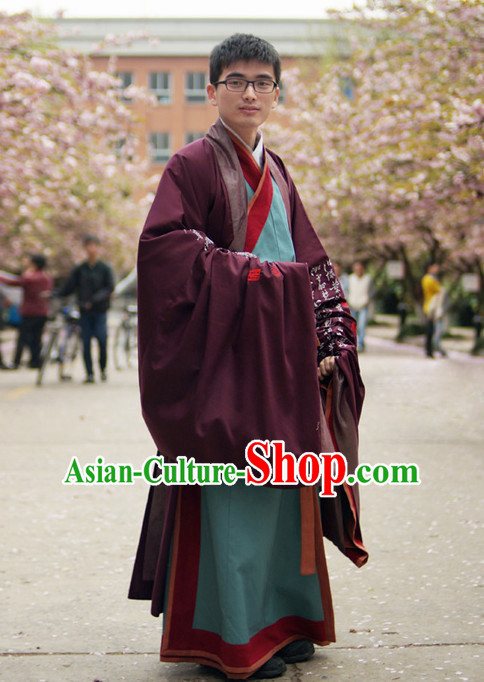 Ancient Chinese Student Hanfu Scholar Clothing Complete Set for Men