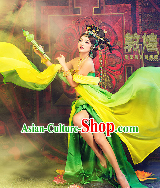 Chinese Halloween Cosplay Fei Tian Apsaras Costumes and Hair Ornaments Complete Set for Women