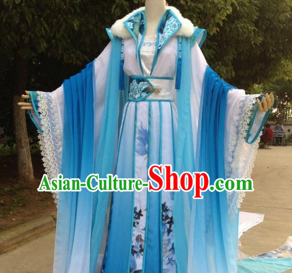 Blue Romantic Ancient Chinese Queen Costume Complete Set for Women