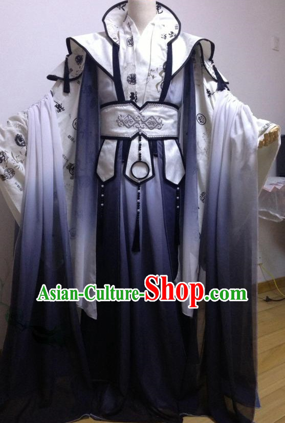 Black White Ancient Chinese Princess Clothes Complete Set for Women