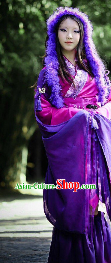 Purple Ancient Chinese Swordwoman Clothes Complete Set for Women