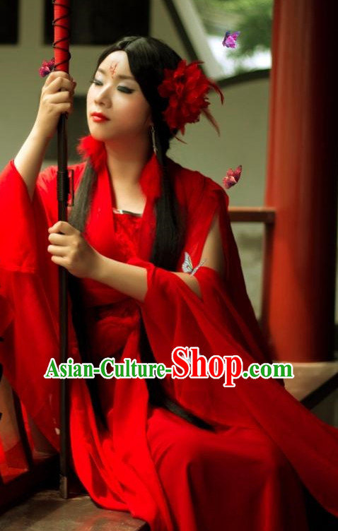 Red Chinese Sexy Swordswomen Halloween Costumes Complete Set for Women