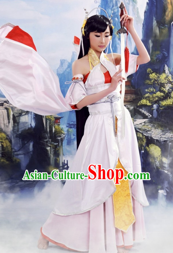 Traditional Chinese Sexy Fairy Costumes and Hair Accessories Complete Set for Women