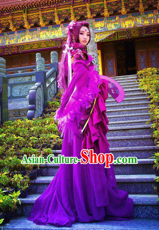Purple Traditional Chinese Noblewoman Costumes and Long Wigs Complete Set for Women
