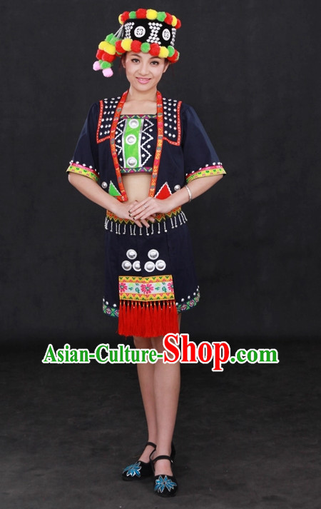 Traditional Chinese Ethnic Minority Wa People Clothing and Hat Complete Set for Women