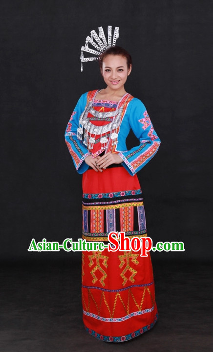 Traditional Chinese Ethnic Li Nationality People Folk Dresses and Hat Complete Set for Women