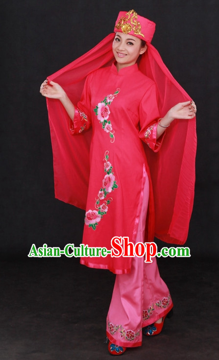 Traditional Chinese Ethnic Hui Nationality People Folk Dresses and Hat Complete Set for Women