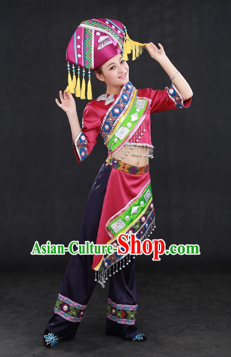 Traditional Chinese Ethnic Zhuang Nationality People Folk Dresses and Hat Complete Set for Women