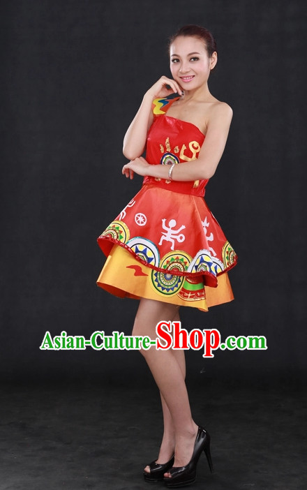 Traditional Chinese People Folk Dresses Complete Set for Women
