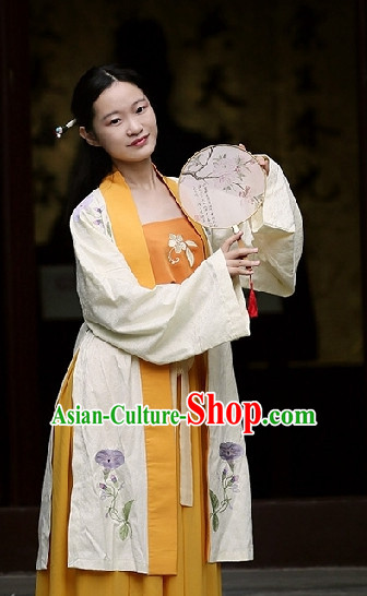 Chinese Folk Hanfu Robe Clothes and Fan Complete Set for Women