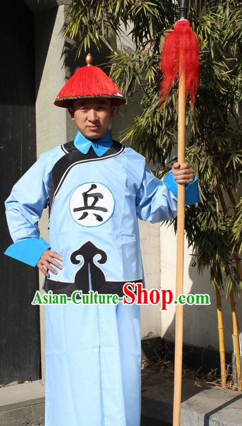 Chinese Qing Dynasty Solider Dress and Hat Complete Set