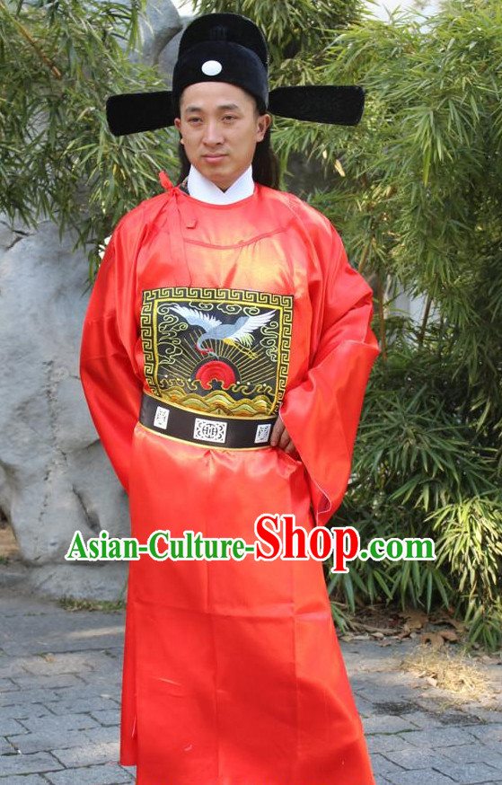 Ancient Chinese Official Costumes and Hat Complete Set for Men