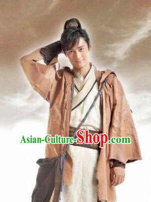 Ancient Chinese Swordsmen Clothing and Wigs Complete Set