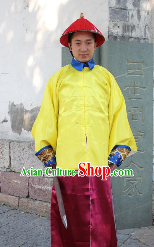 Chinese Ancient Emperor's Bodyguard Costumes and Hat Complete Set for Men