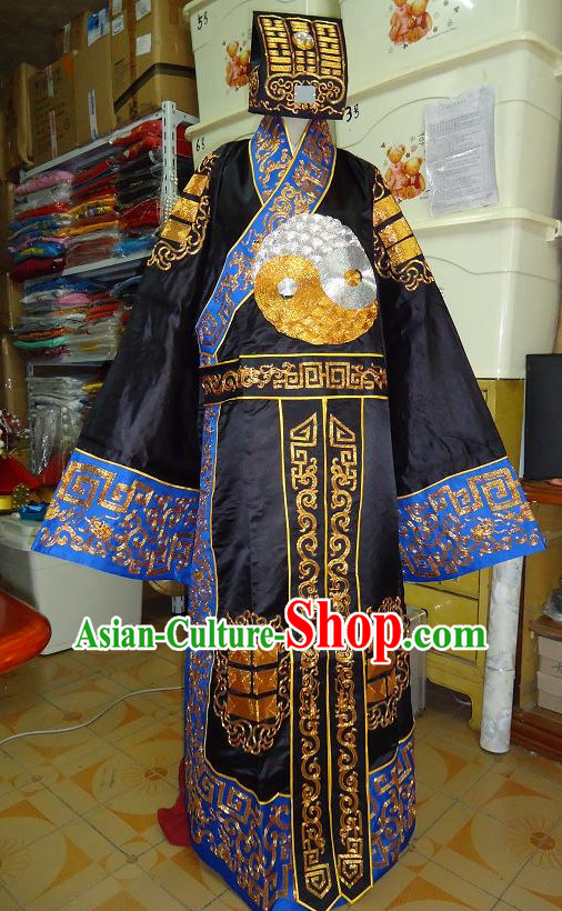 Chinese Ancient Taoist Costumes and Hat Complete Set for Men