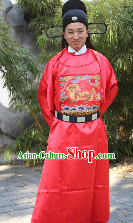 Chinese Ancient Ming Dynasty Prime Minister Costumes and Hat Complete Set for Men