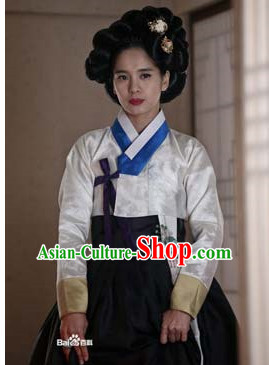 Ancient Korean Hanbok Suit and Black Wigs Hair Accessories Complete Set