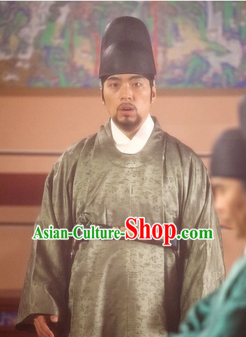 Ancient Korean Prime Minister Costume and Hat Complete Set