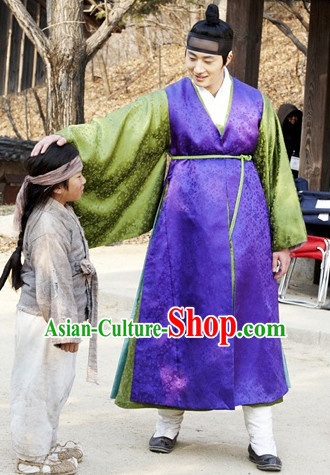 Ancient Korean Long Robes Suit and Headwear Complete Set for Men
