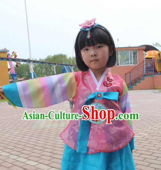 Korean Han Bok Clothing and Hair Accessories Complete Set for Girls