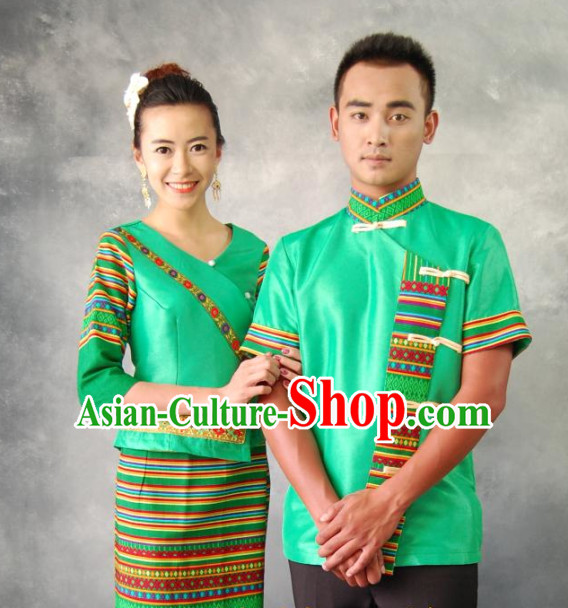 Thailand Traditional Clothing 2 Sets for Husband and Wife