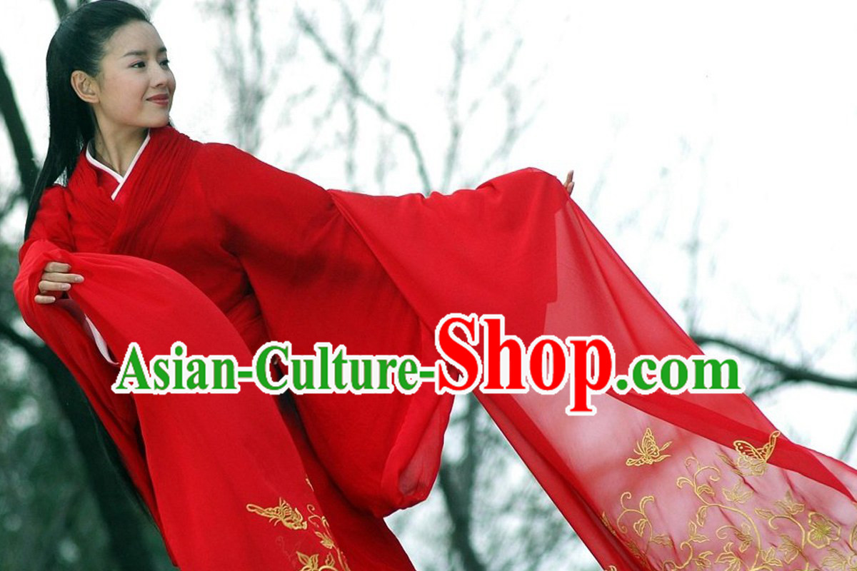 Ancient Red Wide Sleeves Hanfu Butterfly Costumes
