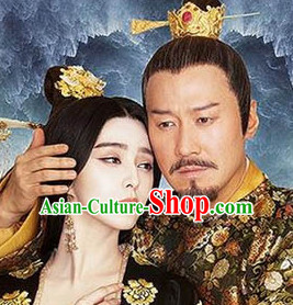 Ancient Tang Dynasty Emperor Empress Crown Helmet Headpieces 2 Sets