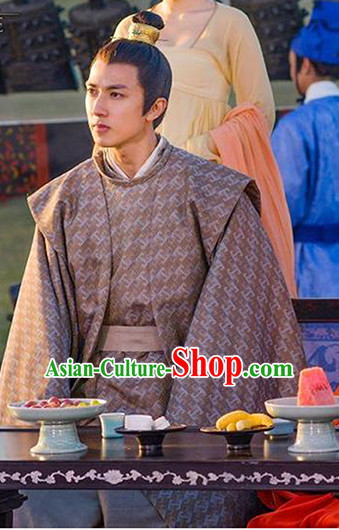 Tang Dynasty Ancient Prince Clothes and Headpieces Helmet Complete Set for Men
