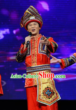 Chinese Ethnic Clothing Minority Dresses and Hat Complete Set for Zhuang People